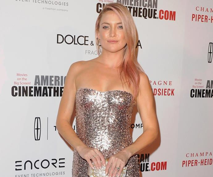 For those of us who'd like to dip their toes into the tantalising world of rainbow hair - look to the divine Kate Hudson. We love how she add hues of light pink to her blonde locks.