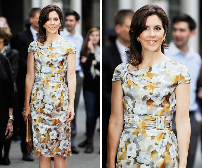 In 2011, Princess Mary attended the American-Scandinavian Foundation Exhibition opening in New York, and even in the most fashionable city in the world she completely stunned in this resplendent floral number, which she teamed with romantic curls and a chic clutch.