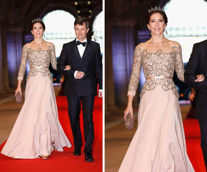 The Princess and her Prince! The 43-year-old looked every part her royal title in this breath-taking gown paired perfectly with a tiara at the dinner for Queen Beatrix of The Netherland's abdication in 2013.