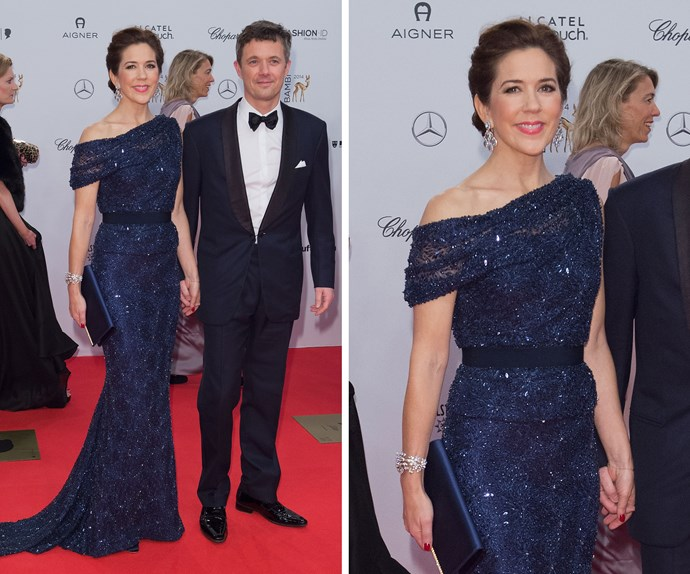 Princess Mary's sparkling navy gown at the Bambi Awards last year was the talk of Europe, her best accessory though - real-life Prince Charming, Fred.