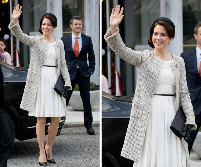 Pictured here greeting her loyal subjects earlier this year, Princess Mary exudes elegance and her royal wave is most certainly the best we've ever seen.
