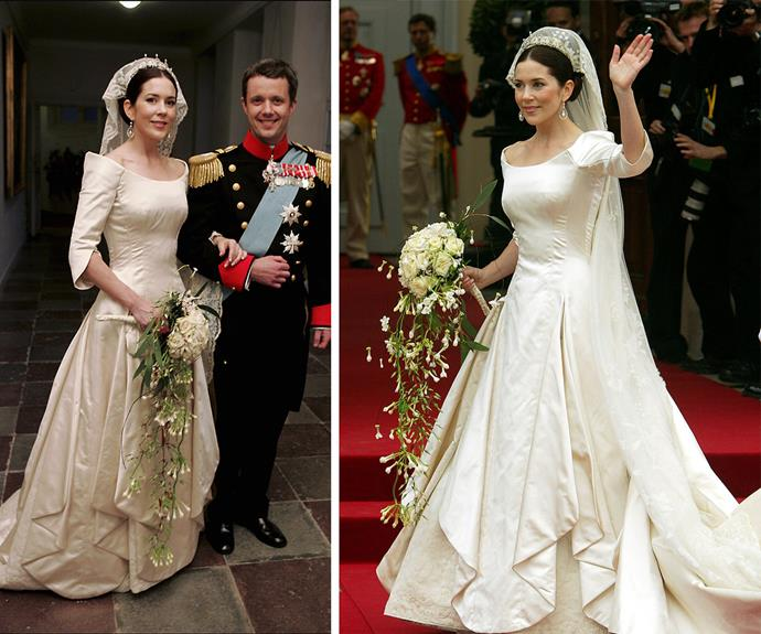 And of course, who could forget the Tasmanian-born beauty's incredible wedding dress by Danish fashion designer Uffe Frank that she wore to her 2004 nuptials with Fred. It's simply iconic.