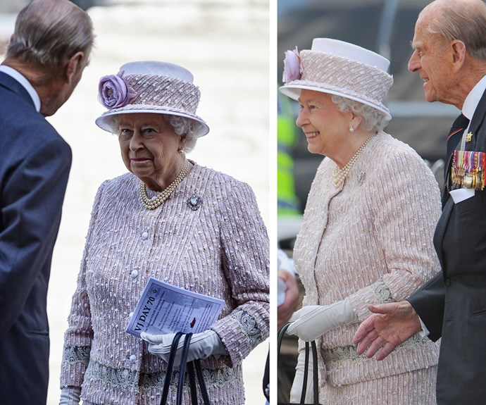 "Always by her side, Prince Philip is the Queen's number one confidante. Pictured here at the 70th anniversary of Victory over Japan day in London last year, the pair shared many sweet moments - we especially love when the reigning monarch gave her husband a ""knowing"" look."