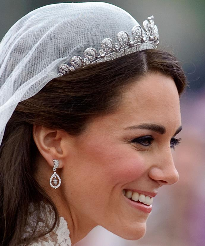 Catherine famously wore this breathtaking tiara on her wedding day in 2011.