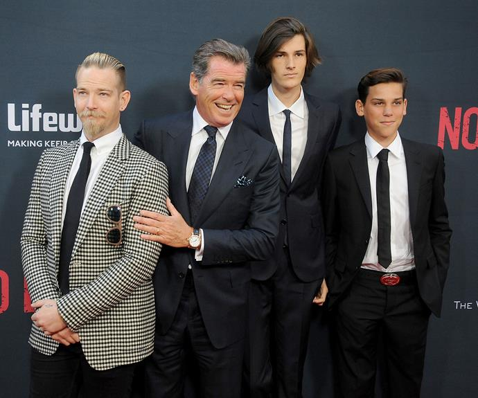 Pierce Brosnan took his sons, Sean. 31, Dylan, 18 and Paris, 14 to the LA premiere of his new film *No Escape*, and wow, they certainly take after their dad - good looks included!