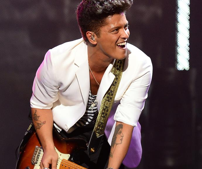 """**Bruno Mars = Peter Gene Hernandez.** *GQ* magazine revealed that Bruno changed his Puerto Rican name """"to avoid being stereotyped"""" into performing solely Latin and Spanish music. """"I felt like I didn't have no pizzazz, and a lot of girls say I'm out of this world, so I was like I guess I'm from Mars,"""" Bruno joked during an interview."""