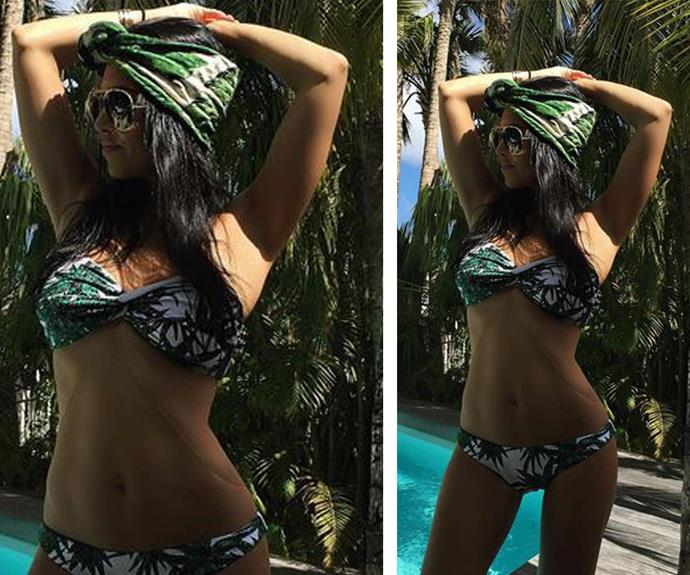 The mother-of-three shows off her incredible bikini body in a fern-print bandeau number as she kicks back by the pool in Beverly Hills.