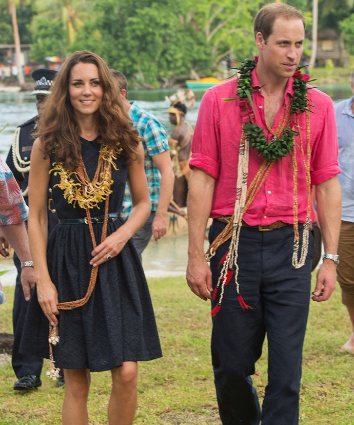It's believed Catherine, pictured with husband William during a tour of the Solomon Islands in 2012, has even re-jigged her annual family holiday to make way for the royal tour.