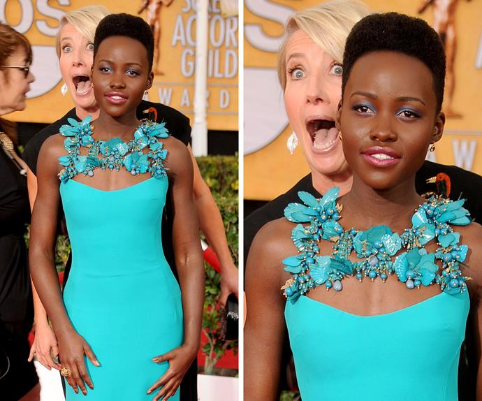 Lupita Nyong'o certainly wasn't expecting Emma Thompson to pull a move like this on the Screen Actors Guild Award red carpet last year but she handles it like a pro.