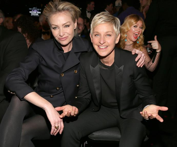 If we got seated behind Ellen DeGeneres and Portia de Rossi we'd be pretty stoked too Kelly Clarkson!