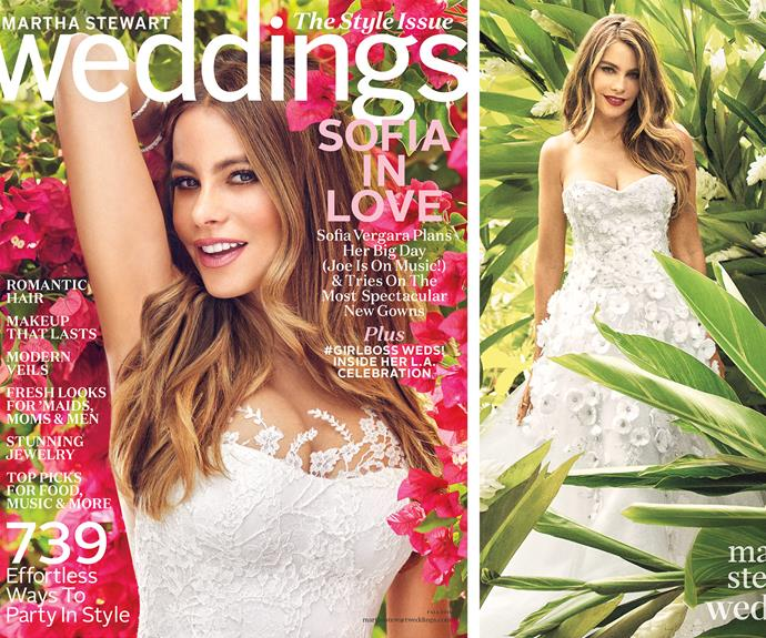Sofia gave us a preview of her November 22nd nuptials to Joe in *Martha Stewart Weddings* fall issue.