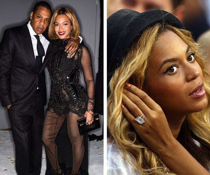 There's no missing Beyonce's 18-carat diamond ring by Lorraine Schwartz, worth over $5million. Jay-Z certainly knows how to spoil his other half.