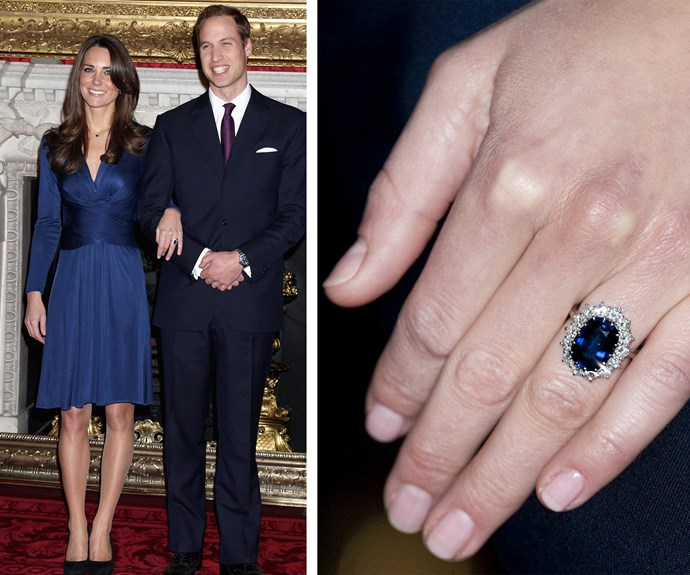 Prince William gave Catherine, the Duchess of Cambridge this sparkler when he popped the question in 2010. The ring, a 12-carat Ceylon sapphire surrounded by a cluster of 14 solitaire diamonds set in white gold, belonged to his late mother Princess Diana.