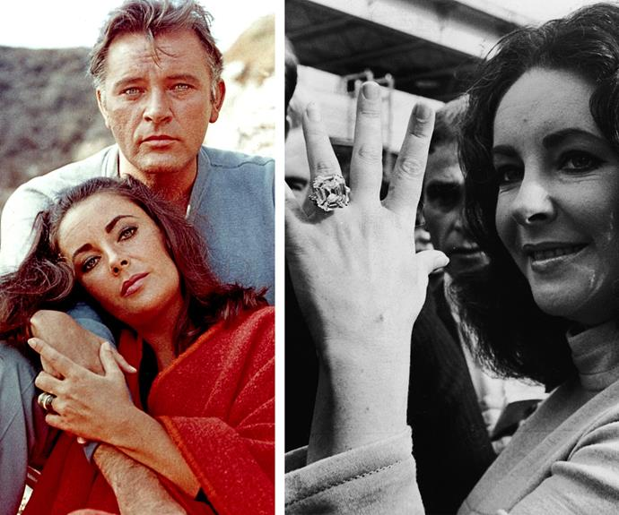 Elizabeth Taylor trumps Kim Kardashian with her 33 Karat Krupp Diamond, now known as the Elizabeth Taylor Diamond, given to her by Richard Burton. The stone is a unique Asscher cut and was created in the 1920s.