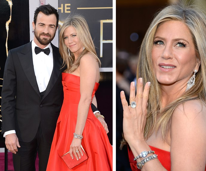Jennifer Aniston's engagement to Justin Theroux was marked with an 8-carat emerald-cut solitaire ring, estimated to be worth $500,000. Following her nuptials earlier this month, the actress has since shown off her chic and timeless wedding band.