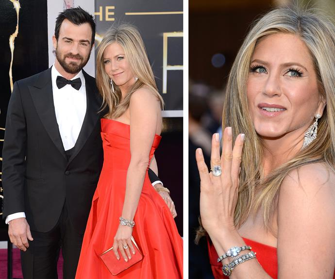Jennifer Aniston's engagement to Justin Theroux was marked with an 8-carat emerald-cut solitaire ring, estimated to be worth $500,000. Following her nuptials earlier this month, the actress has since shown off her [chic and timeless wedding band.](http://www.womansday.com.au/celebrity/hollywood-stars/jennifer-aniston-shows-ring-in-first-post-wedding-interview-13460)