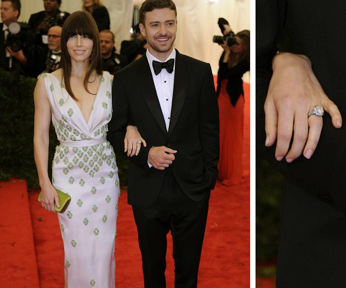 Justin Timberlake popped the question to now-wife, Jessica Biel back in 2011. The singer was armed with a large, square-cut diamond reportedly worth $130,000.
