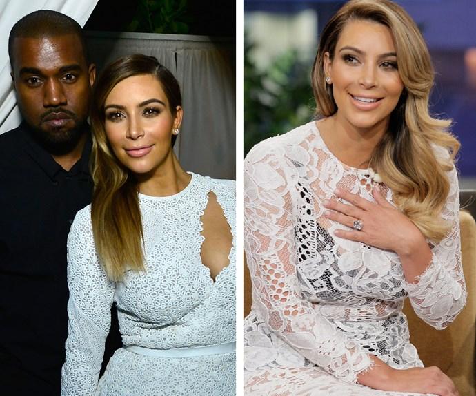 Kanye West proposed to Kim Kardashian with a 15-carat Lorraine Schwartz sparkler, estimated to be worth more than $1.6 million.