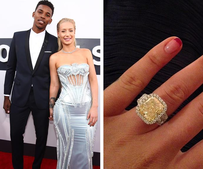 Nick Young surprised his girlfriend, Iggy Azalea, with an incredibly romantic proposal and an even better ring. The Aussie rapper debuted her killer bling via Instagram and boy, is it fancy! The basketballer helped design the 10.43-carat ring, which consists of an 8.15-carat intense yellow diamond and a white diamond halo all set into white gold, with jeweler Jason Arasheben of Jason of Beverly Hills.