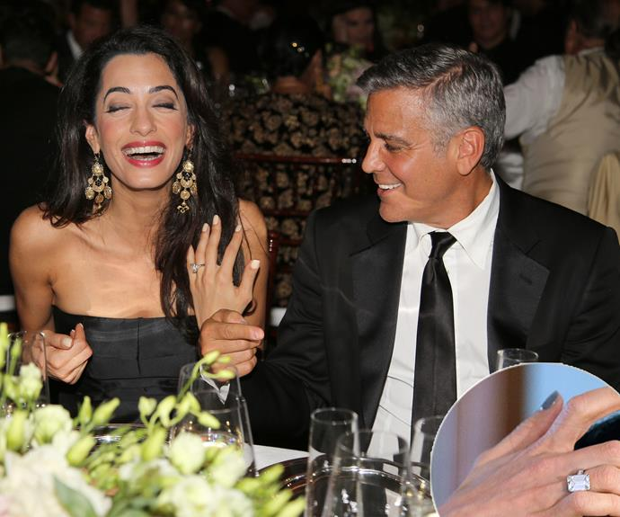 Silverfox, George Clooney was tamed by the incredible Amal Alamuddin. The actor proposed to the London lawyer with a ethically mined emerald-cut diamond estimated at 7-plus carats and two tapered baguettes set in platinum - which he helped design!