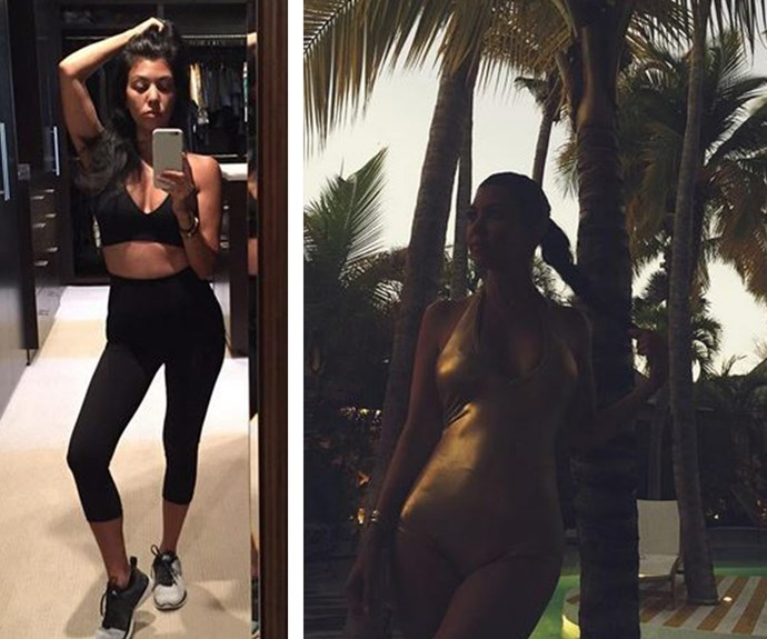 """Holy hotness! The diminutive reality star has some serious selfie game. Kourt flashes her washboard abs before a gym session (L) and quips """"No breaks"""", before she shimmies into a plunging gold latex swimsuit."""