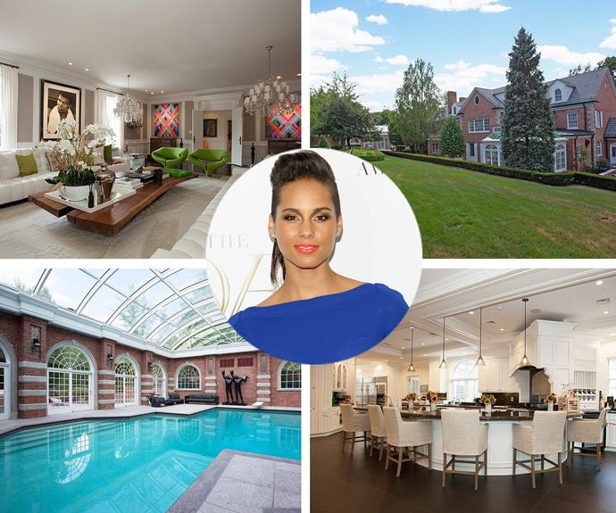 Alicia Keys and hubby Swizz Beatz [reportedly put their New Jersey](https://homes.yahoo.com/news/alicia-keys-swizz-beatz-list-jersey-mansion-14-182809246.html) property on the market for a sweet  $USD14.9 million ($AUD20.2 million). It has a movie theatre, indoor swimming pool, two-lane bowling alley, a professional recording studio, two elevators, a gym, and of course, a five-car garage.