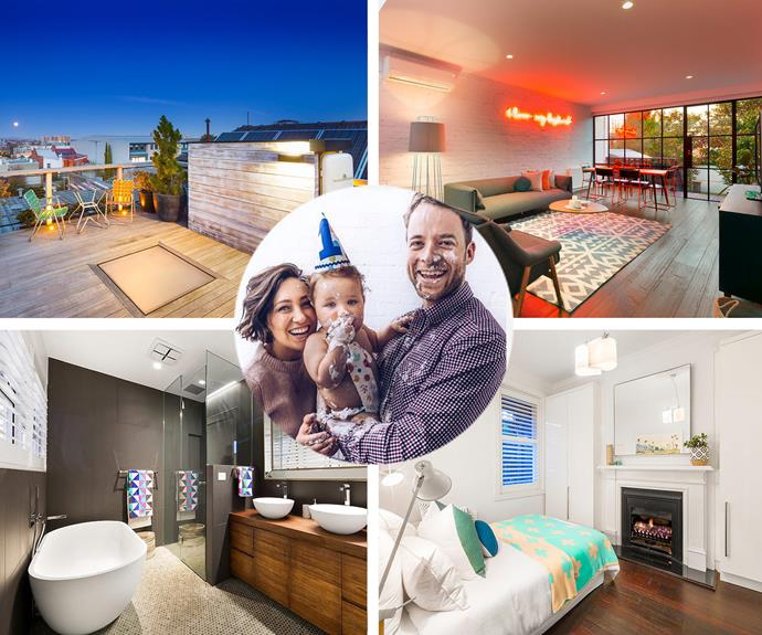 Our favourite funnyman Hamish Blake, his amazing wife Zoe and their adorable bub Sonny have just put [their Melbourne terrace for sale]( http://www.domain.com.au/for-sale/60-gore-street-fitzroy-vic-3065-2012162870?sp=1) and is equal parts sophisticated as it's sublime. We adore the cute personal touches, from the neon sign in the living room to a *fridge door* used as the door to the roof! This home is the ultimate interiors inspo.