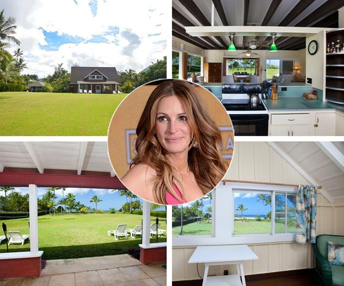 Aloha to Julia Roberts' stunning beachfront property in Hanalei, Hawaii. She's reportedly put it up for sale for a whopping $USD29.9 million! The holiday home boast panoramic views and scream Hawaii. Inside you'll find spacious rooms under impressive open-beam ceilings, providing a soothing ambiance,which is exactly what you need to unwind after a day of sun surf and sand (we imagine!).