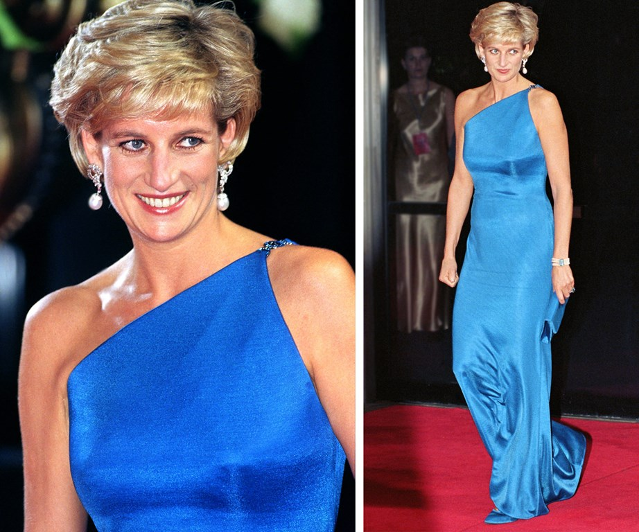 She positively dazzled in this royal blue silk number when she stepped out at the Victor Chang Charity Ball for the Cardiac Research Institute in Sydney back in 1996.