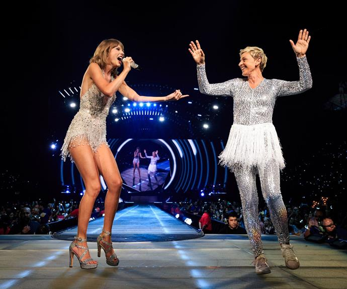 The talk show host Ellen DeGeneres put her own spin on one of Taylor's revealing, but stunning glittery numbers!