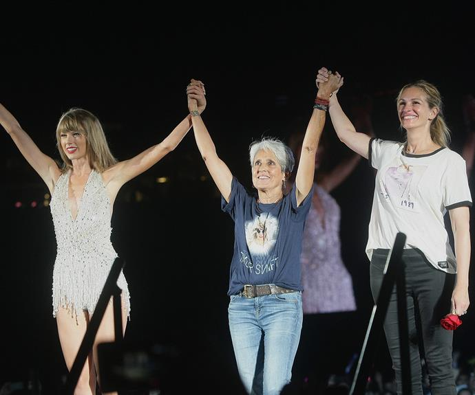 Expanding the squad! Taylor Swift calls Julia Roberts and folk singer Joan Baez on stage.