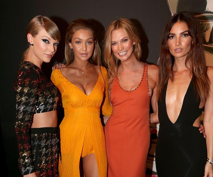 It wouldn't be a an awards ceremony without Taylor Swift and her girl squad. (L-R) Taylor Swift, Gigi Hadid, Karlie Kloss and Lily Aldridge looked fierce.