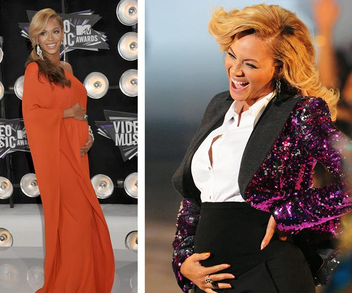 As far as pregnancy announcements go, Beyonce delivered with gusto and class at the 2011 bash. Doing away with any OTT and contrived social media posts, the singer instead let her bump do all the talking as she unbuttoned her blazer and cradled her belly at the end of her performance of *Love on Top*.