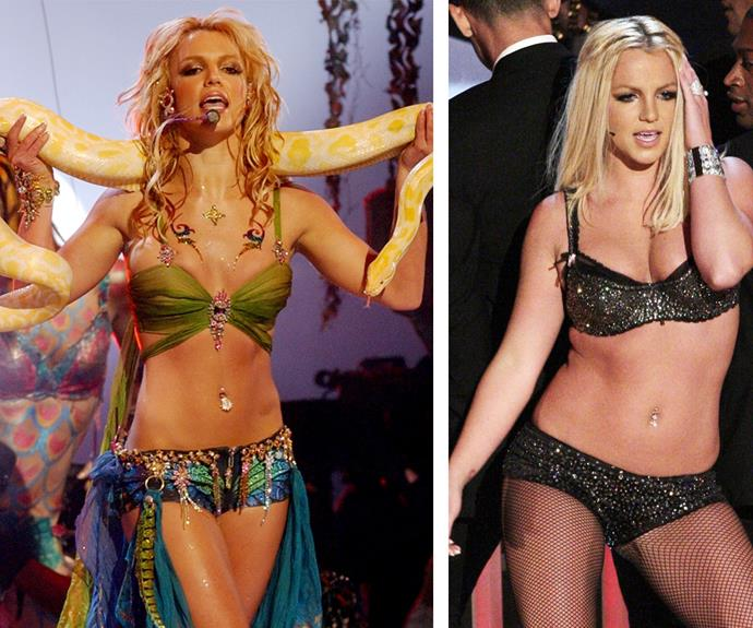"The rise and fall of Britney Spears: Over the years, the VMAs have documented the pop princess' peaks and pits. In 2001 (L) Brit slayed with her steamy rendition of smash hit *Slave 4 U*, complete with an albino snake thrown over her shoulders. But in 2007 (R), her touted ""come back*, after her highly-publicised meltdown, didn't quite go to plan. The star was criticized for miming and fresh fears were raised over her well-being."