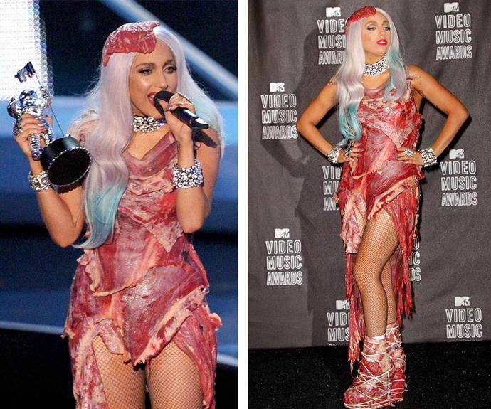 "It's been five years since Lady Gaga strapped on her meat dress, which was made up of raw beef so what was quirky Gaga trying to tell us? ""It has many interpretations, but for me... If we don't stand up for what we believe in and if we don't fight for our rights, pretty soon we're going to have as much rights as the meat on our own bones. And I am not a piece of meat,"" she told  Ellen DeGeneres."