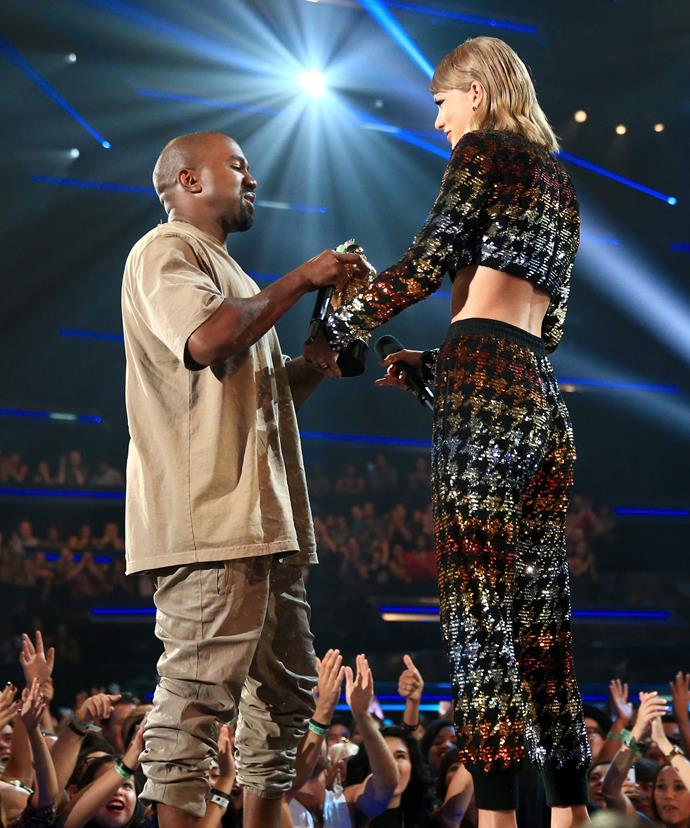 Coming full circle! Taylor Swift presented Kanye West with the Michael Jackson Video Vanguard Award at the Video Music Awards, clearly showing there was no hard feelings between them after he famously hijacked her 2009 acceptance speech.