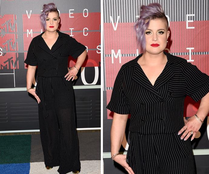 We are not sure how the Fashion Police would feel about this double-breasted pin-stripe number Kelly Osborne.