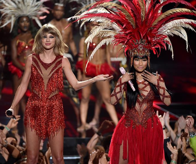 "Weeks ago Taylor Swift and Nicki Minaj had a very public Twitter feud after the *Superbass* singer complained she wasn't nominated for Video of the Year because her clip didn't feature ""women with very slim bodies,"" like Taylor's *Bad Blood* clip. However they buried the hatchet and opened the show together singing their respective hit songs *The Night is Still Young* and *Bad Blood* - causing lots of speculation that the online fight was manufactured!"