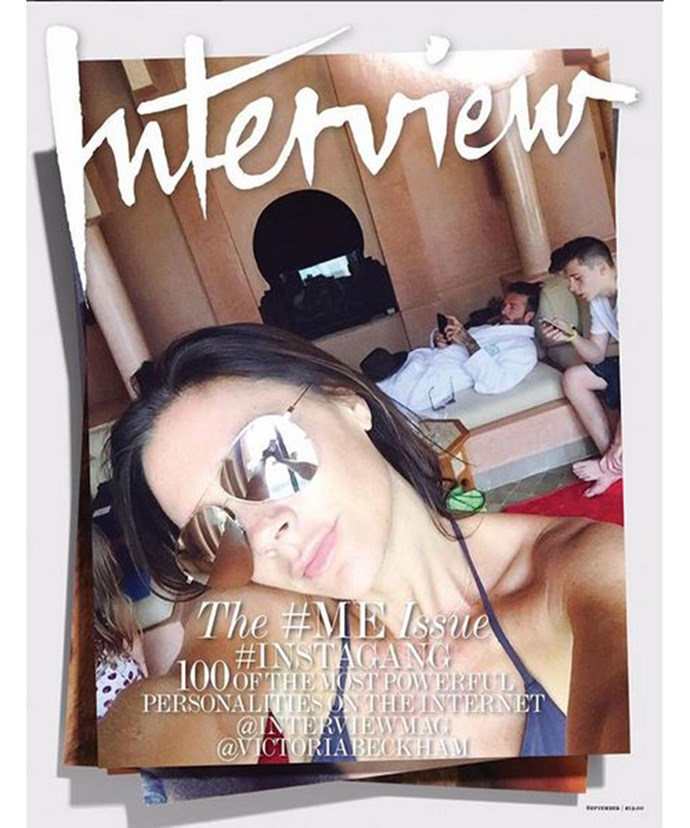 "Victoria took to her Instagram to share this cover of *Interview* magazine writing, ""My @interviewmag #interviewgang cover with @davidbeckham and @brooklynbeckham is out today!"""
