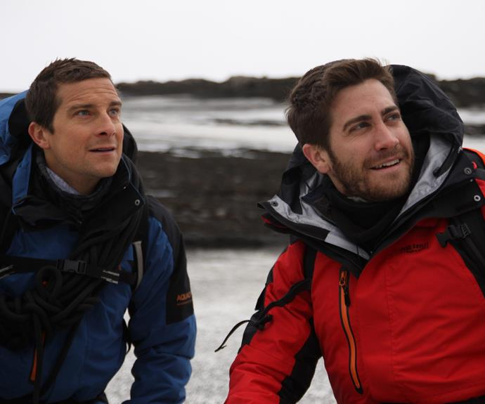 "Bear recalled his time with one his first guests back in his *Man vs Wild* days: *Jake Gyllenhaal* ""You've gotta admire somebody when they step out of their comfort zone and put their life in somebody else's hands. I was very clear with him and said, 'Come on your own and trust me.' He did incredible. What I like about the wild is when you're squeezed, you see what people are made of."""