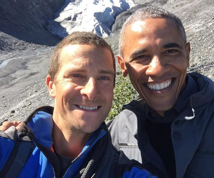 Bear Grylls met up with President Obama during a three-day trip to Alaska, giving the father-of-two the chance to discover the impact of climate change on the state while trying out his wilderness skills.