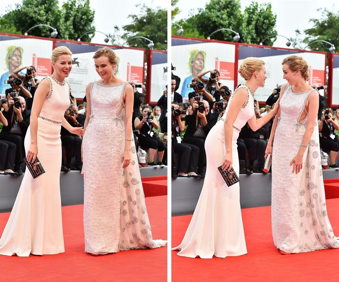 Did Diane and Elizabeth coordinate? The pals catch up for a quick laugh on the carpet for the opening ceremony.