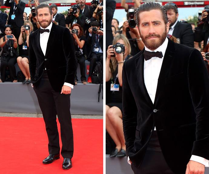Hello handsome... Jake Gyllenhaal looked every part the A-list movie star with his slicked back hair and velvet blazer.