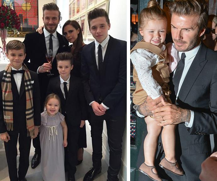 "Kicking off as the ultimate dad of cool is none other than David Beckham. The 41-year-old is dad to Harper, Cruz, Romeo and Brooklyn. ""We have always led by example, in terms of the way we treat our children, with the way we look after our children, the way we love our children,"" he once explained to *The Telegraph.*"