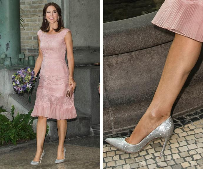 Princess Mary or Cinderella? The future Queen of Denmark looked fierce at an Awards ceremony recently donning a stunning pair of glittery shoes!