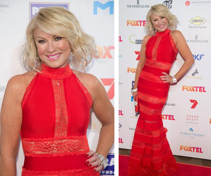 A vision in red! TV royalty Kerri-Anne Kennerley stunned at the Fight Cancer Foundation's 2015 Red Ball in Melbourne on Saturday night in a high-neck fishtail frock.