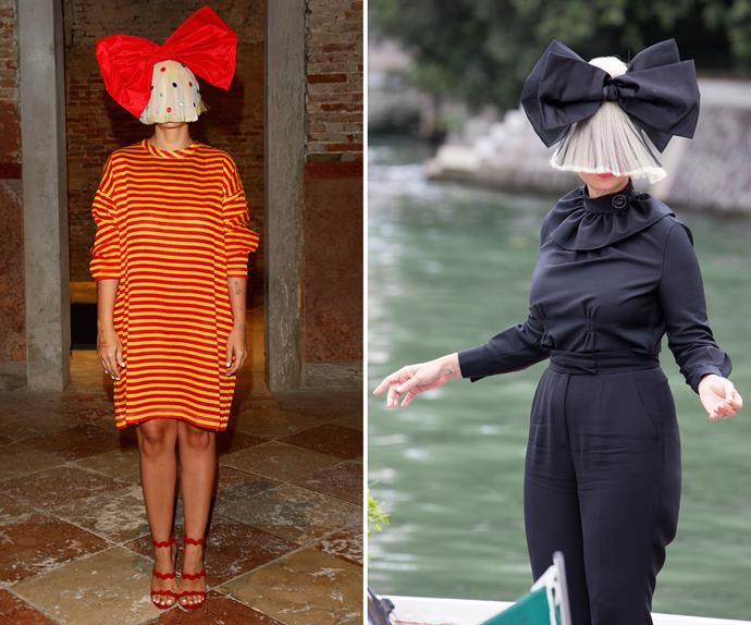 Aussie singer Sia Furler yet again donned an oversize wig and giant bow throughout the glamorous event.