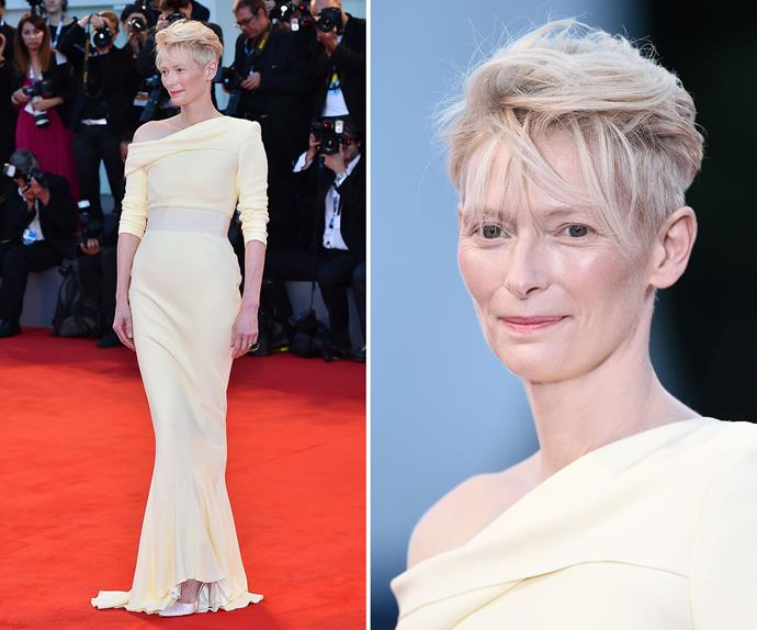 Tilda Swinton again proves why she is one of Hollywood's most timeless celebs as she stuns in an off-white number.