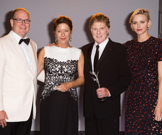 The couple were all smiles as they celebrated with recipients Robert and his wife, Sibylle Szaggars, at the annual Princess Grace Awards Gala.