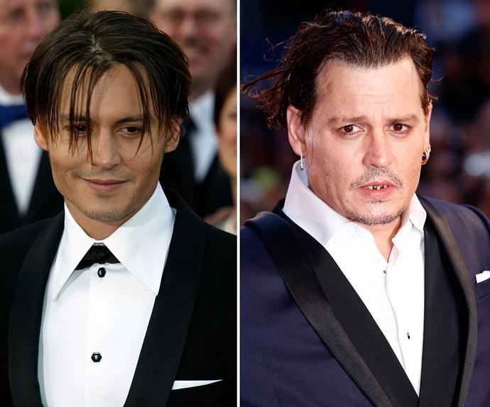 Woah, you've changed! Johnny was once one of the most lusted after men in the entire world, pictured here (L) in 2004, but these days he's looking very different (R). His dishevelled appearance over the weekend raised more than a few eyebrows.